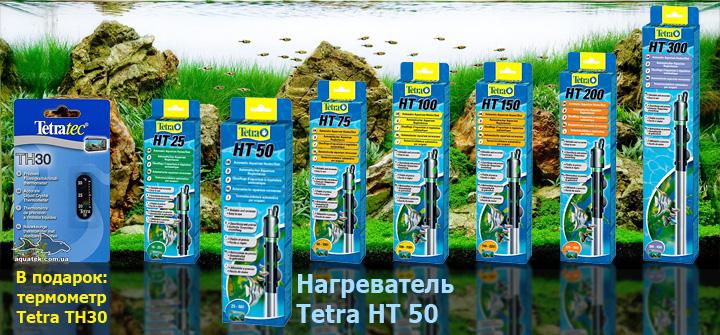 Tetra HT 50 - автоматический нагреватель с терморегулятором для аквариума 25-60 литров.