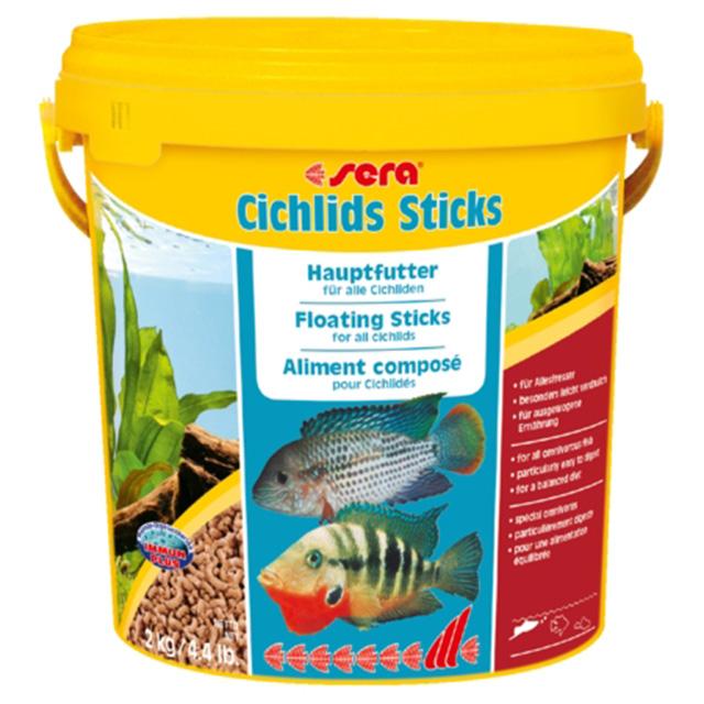 Sera палочки для цихлид (Sera Cichlids Sticks) 10 литров. Основной корм в форме палочек для цихлид.